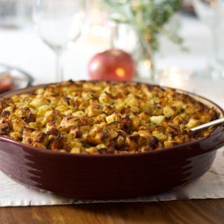 Bread Stuffing with Bacon, Apples, Sage and Caramelized Onions