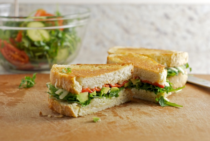 Grilled Cheese with Avocado, Arugula and Roasted Red Pepper