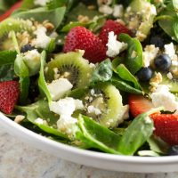 Spinach Salad with Berries, Kiwi and Goat Cheese