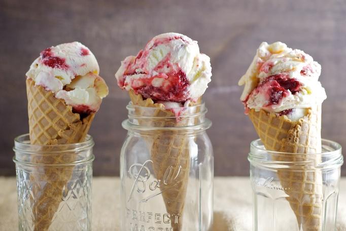 Goat Cheese Ice Cream - Roasted Strawberries