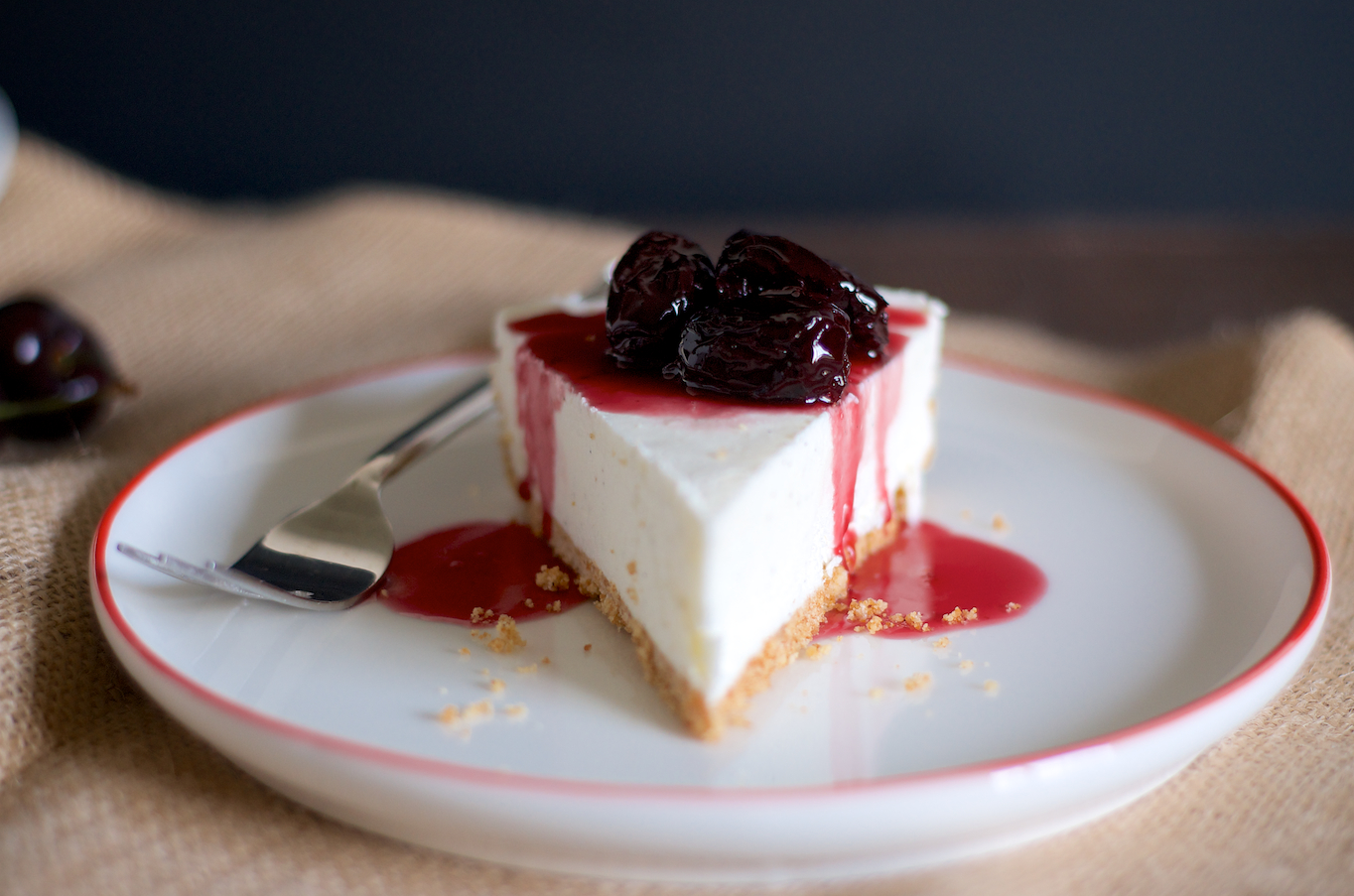 No-Bake Cheesecake with Roasted Cherries