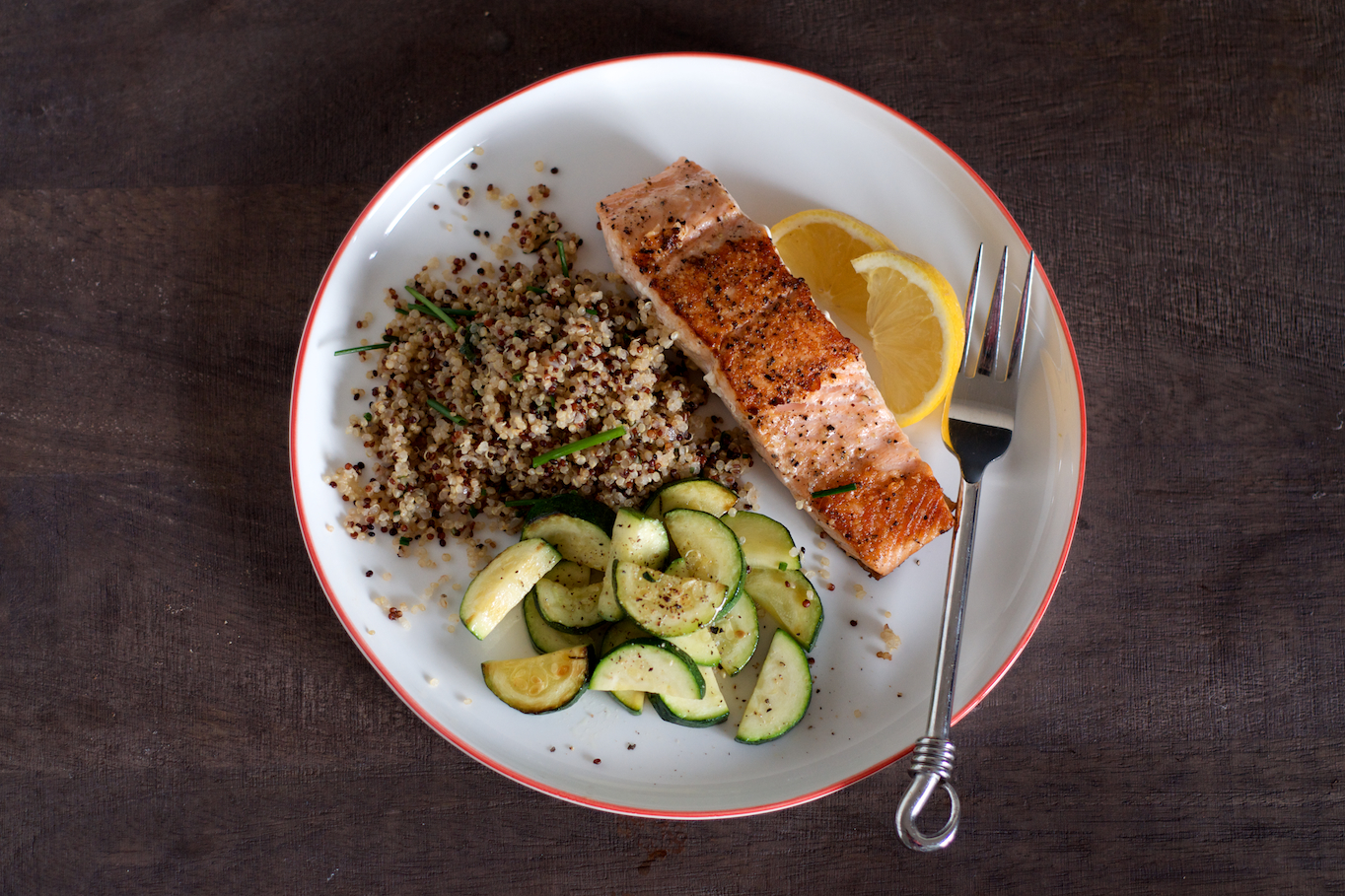 Quinoa Pilaf with Salmon and Sautéed Zucchini